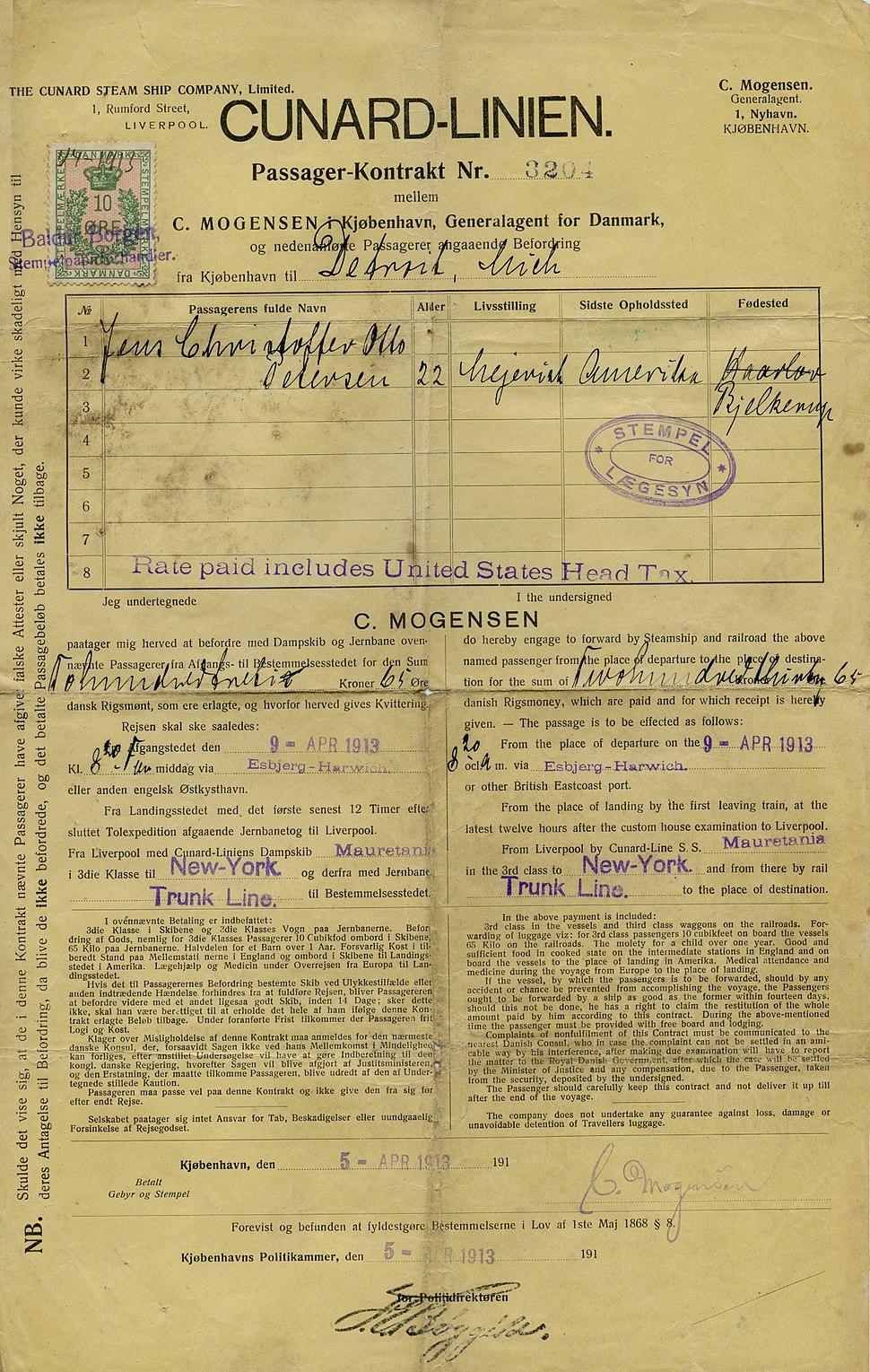 1913 ticket on RMS Mauretania