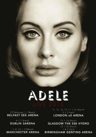 Adele Live 2016 - Image: Adele 2015Tour Poster