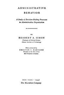 <i>Administrative Behavior</i> book by Herbert Simon
