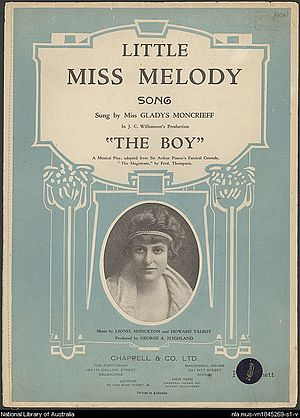 "Australian sheet music to ""Little Miss Me..."