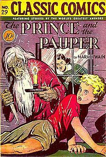 Comic-book cover, with young boy menaced by a bearded, knife-wielding man