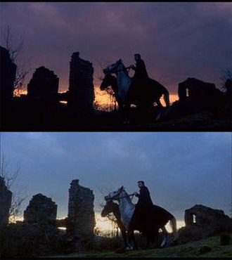 "Black Sabbath (film) - Two screenshots of the same scene from ""The Wurdulak"". The top image is from the Italian version supervised by Mario Bava. The second is from American International's print."