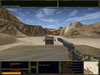 Delta Force 2 - First-person view while lying prone on top of a truck.