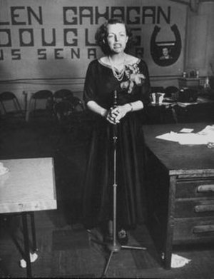 Helen Gahagan Douglas - Helen Gahagan Douglas concedes defeat, 1950.