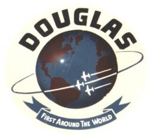 First aerial circumnavigation - Douglas Aircraft Company's logo was later changed in commemoration of the first aerial circumnavigation. This theme was adopted following the McDonnell Douglas merger, and is still used today in Boeing's logo after the 1997 merger.