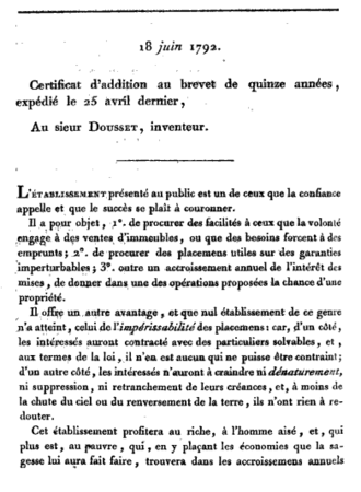 Business method patent - First page of Dousset 1792 French patent for a tontine
