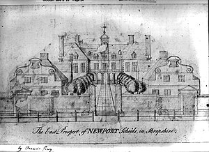 Adams' Grammar School - The oldest known sketch of Big School by Francis Perry, died 1765