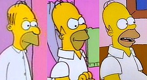 "Homer Simpson - Homer's design has been revised several times over the course of the series. Left to right: Homer as he appeared in ""Good Night"" (1987), ""Bathtime"" (1989), and ""Bart the Genius"" (1990)."
