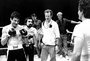 Raging Bull - The filming of the boxing scenes with director, Scorsese (center left, with beard) and the director of photography, Michael Chapman (center right, with white shirt).