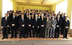 First Rudd Ministry - Kevin Rudd (front, middle), with Governor-General Michael Jeffery and the rest of his Ministry after being sworn in on 3 December 2007
