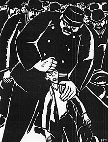 A black-and-white illustration of a large police officer strangling a smaller man
