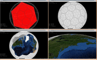Geodesic grid technique used to model the surface of a sphere with a subdivided polyhedron