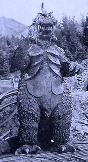 Ultra Q - The monster Gomess from episode 1. The monster was brought to life with a modified Godzilla suit from the films Mothra vs. Godzilla and Ghidorah, the Three-Headed Monster.