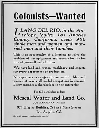 Llano del Rio - Full page ad for the new Llano del Rio colony published in July 1914 in The Western Comrade, a monthly magazine purchased by Job Harriman to help promote the venture.
