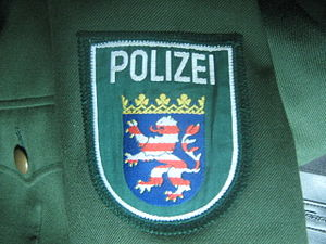 Hesse State Police - The sleeve patch of the Hessen State Police on an older green uniform.