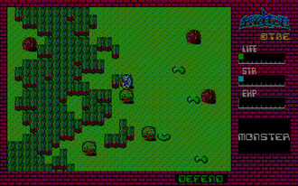 Action role-playing game - Screenshot of the original NEC PC-8801 version of Hydlide (1984), an action role-playing game