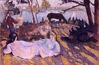 Jean Puy - Image: Jean Puy, 1905, Flânerie sous les pins, oil on canvas, 81 x 115 cm, Musée Paul Dini, Villefranche sur Saône