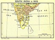 A political map of peninsular India c. 1605. The Mughal Empire lies above the peninsula; the peninsula consists of Ahmadnagar in the northwest, Bijapur in the west, Golconda in the east and northeast and the poligar kingdoms in the south and southeast.