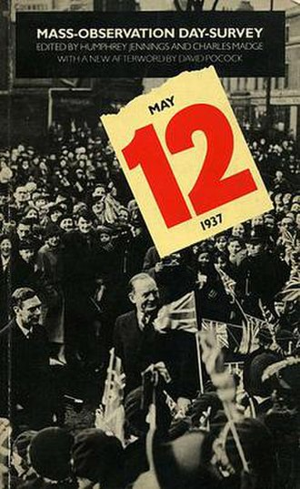 Mass-Observation - Cover of a book by Mass-Observation, showing King George VI, radio news reporter Richard Dimbleby and flag-waving crowds
