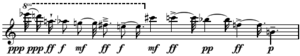 Serialism - Image: Messiaen Mode de valeurs et d'intensites series upper line Boulez Structures Ia