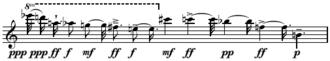 Serialism - Image: Messiaen Mode de valeurs et d'intensites series upper line Boulez Structures Ia