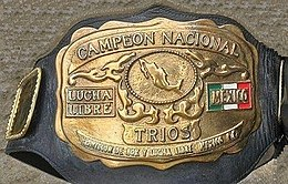 "The front plate of the championship in gold with lettering raised to read ""Campeon National"" and ""Trios"" underneath"