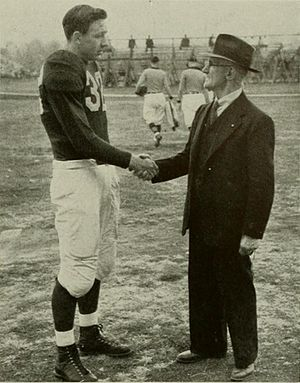 William W. Skinner - Skinner meets Maryland quarterback Tommy Mont in 1942.