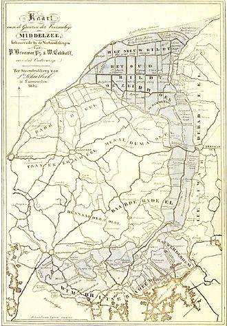 Het Bildt - map from 1834 of the middelzee.