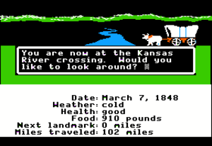 The Oregon Trail (video game) - Screenshot from the Apple II version