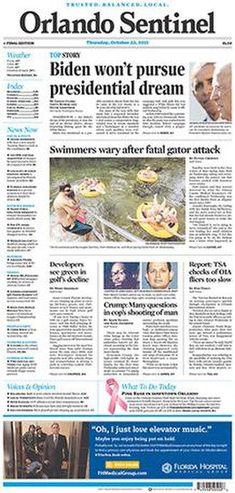 Orlando Sentinel - Image: Orlando Sentinel front page