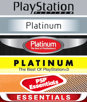 Essentials (PlayStation) - Official Platinum and Essentials banners used on PlayStation game covers.