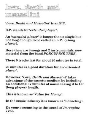 Love, Death & Mussolini - Image: Porcupine Tree Love Death and Mussolin (Back)