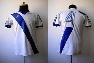 Puebla F.C. - Image: Puebla fc jersey (1986 design front and back)