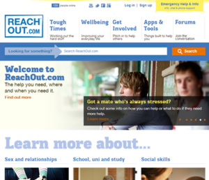 ReachOut.com - Screenshot of ReachOut.com homepage, November 2013