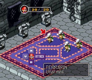 Super Mario RPG -  Mario in a battle against enemy Terrapins in the Bowser's Keep level.