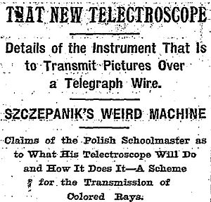 Telectroscope - Headline from the New York Times article on Szczepanik's telectroscope (April 3, 1898)