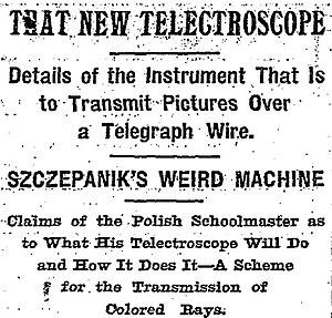 Telectroscope - Headline from the New York Times article on Szczepanik's telectroscope (April 3, 1898)