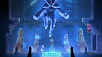 Teslagrad - An in-game screenshot showing the colorful hand-drawn art style.