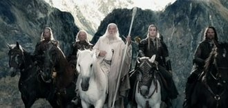 The Lord of the Rings: The Two Towers - From left to right: Karl Urban, Bernard Hill, Ian McKellen, Orlando Bloom and Viggo Mortensen. According to Peter Jackson, The Two Towers is centred around Aragorn.