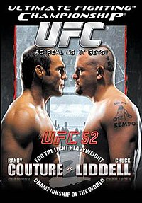 A poster or logo for UFC 52: Couture vs. Liddell II.