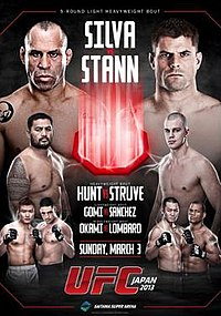 A poster or logo for UFC on Fuel TV: Silva vs. Stann.