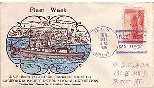 USS Brant (AM-24) - Postage Envelope Of Fleet Week In Early 1940s
