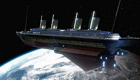 A spaceship replica of the Titanic orbiting the Earth.