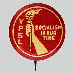 Young People's Socialist League (1907) - YPSL pinback from the 1930s, featuring the Socialist Party's traditional hand-and-torch logo.