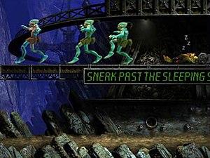 Oddworld: Abe's Exoddus - Abe and some Mudokons sneak past a sleeping Slig.