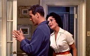 Cat on a Hot Tin Roof (1958 film) - Paul Newman (Brick) and Elizabeth Taylor (Maggie) in an early scene from the film