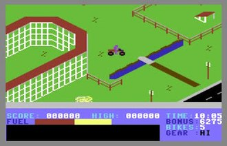 Action Biker - The isometric view seen in the C64 version. The Atari 8-bit version is very similar.