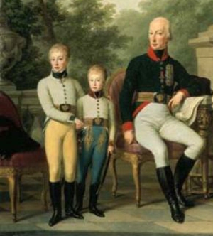 Archduke Joseph Franz of Austria - Archduke Joseph Franz with his older brother Archduke Ferdinand and their father Francis II, Holy Roman Emperor