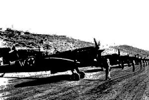 Vis (island) - Balkan Air Force aircraft at Vis Air Base during review by dictator Josip Broz Tito