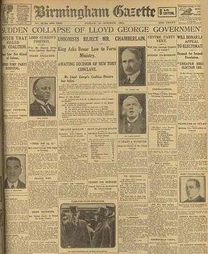 Birmingham Gazette - The Birmingham Gazette of 20 October 1922